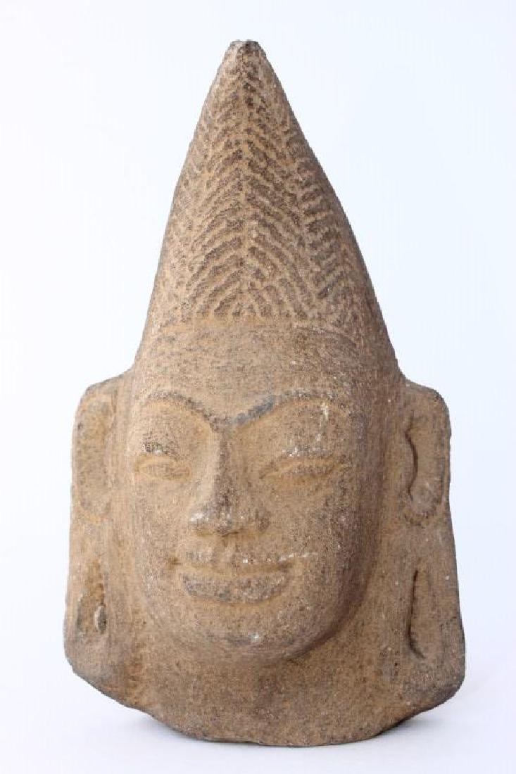Early Carved Champa Stone Head,