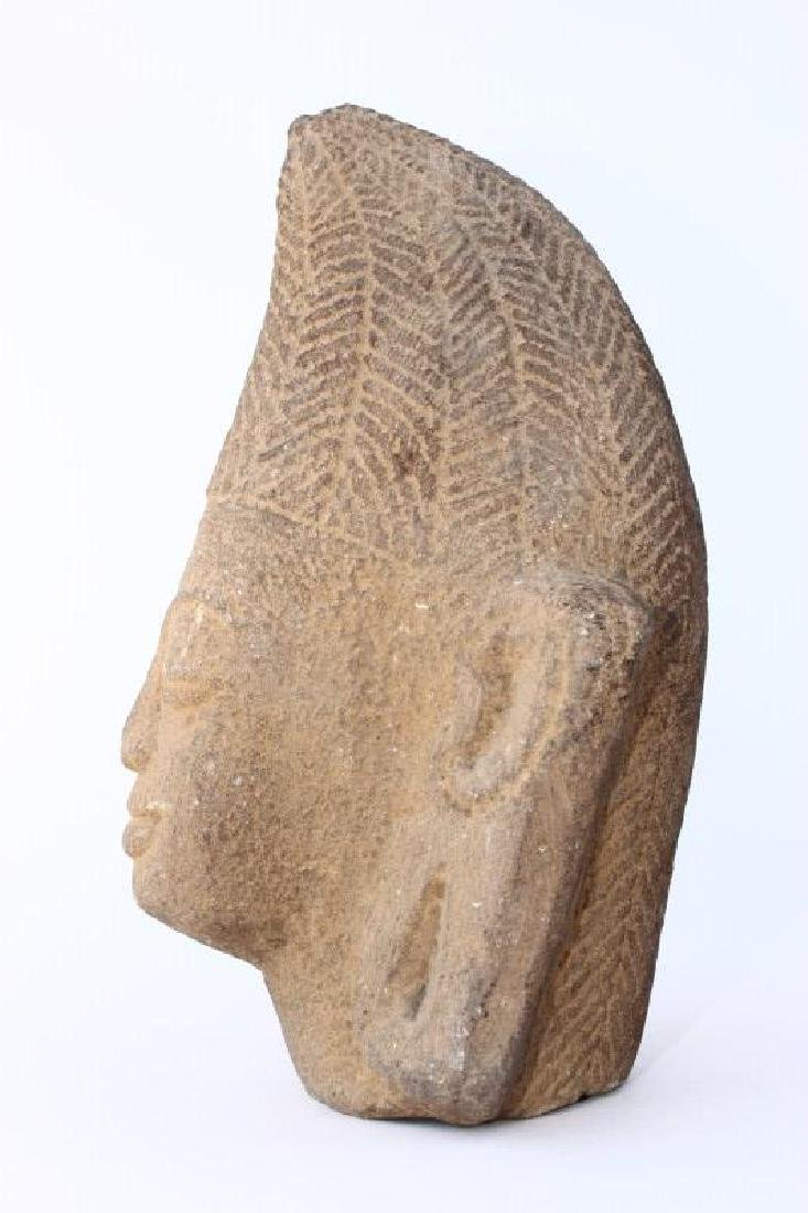 Early Carved Champa Stone Head, - 2