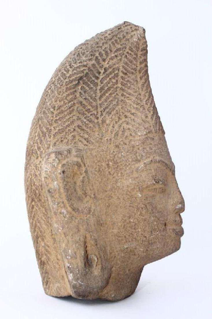 Early Carved Champa Stone Head, - 3