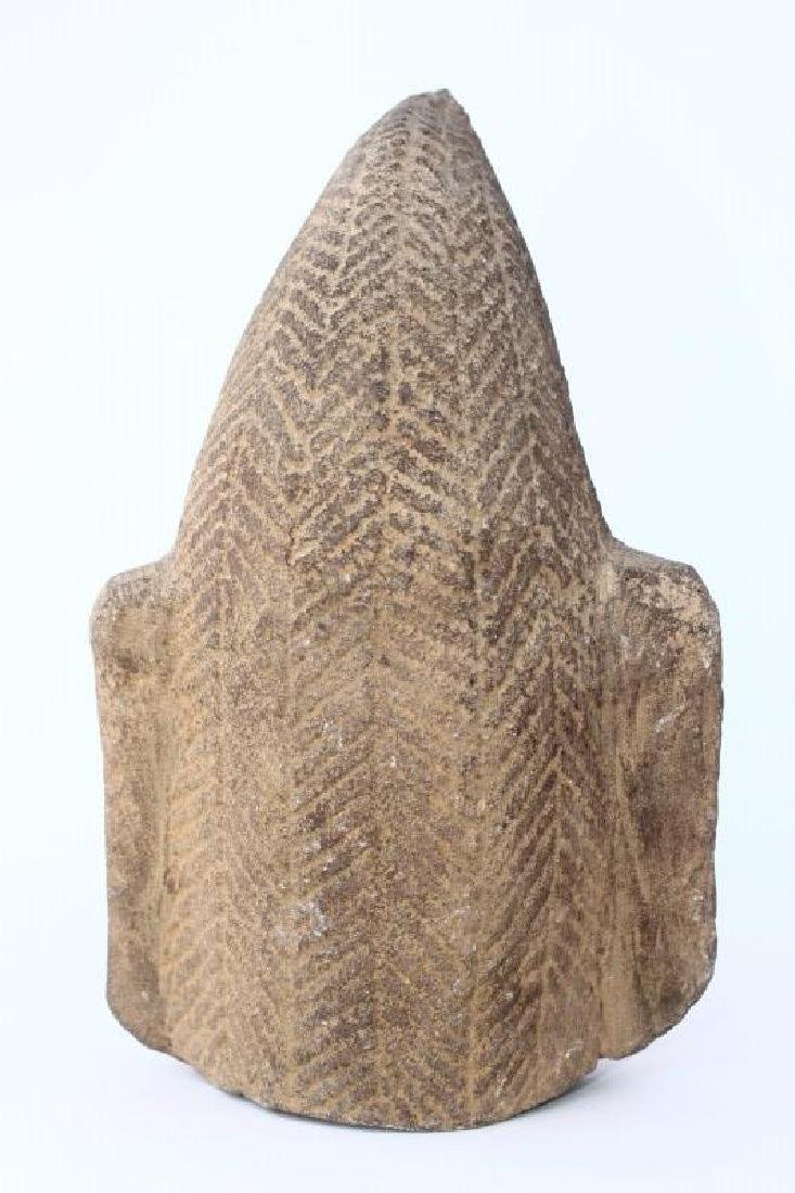 Early Carved Champa Stone Head, - 4