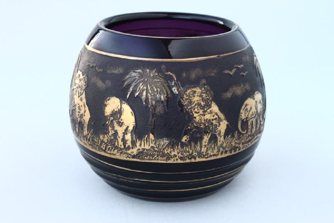Moser Cameo Glass Vase, - 2