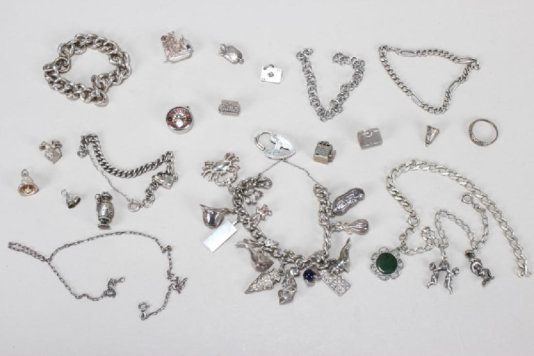 Sterling Silver Charm Bracelet and Charms
