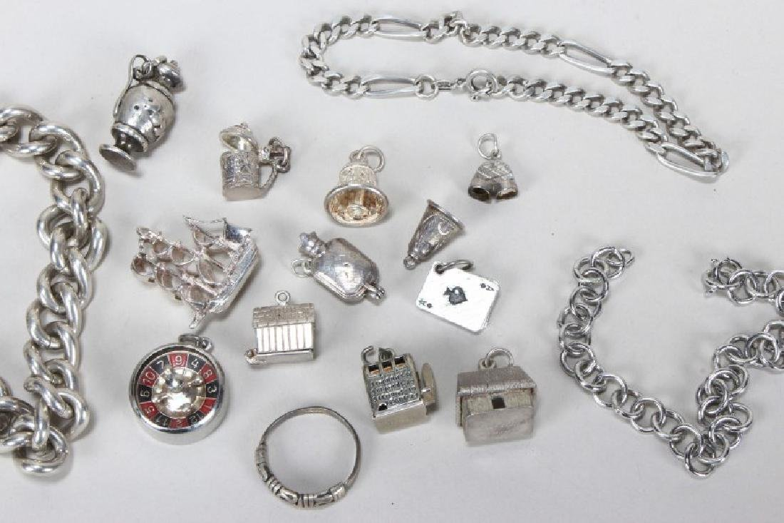 Sterling Silver Charm Bracelet and Charms - 4