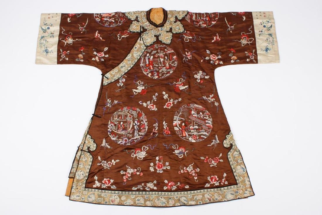 Chinese Late Qing Dynasty Long Silk Gown,