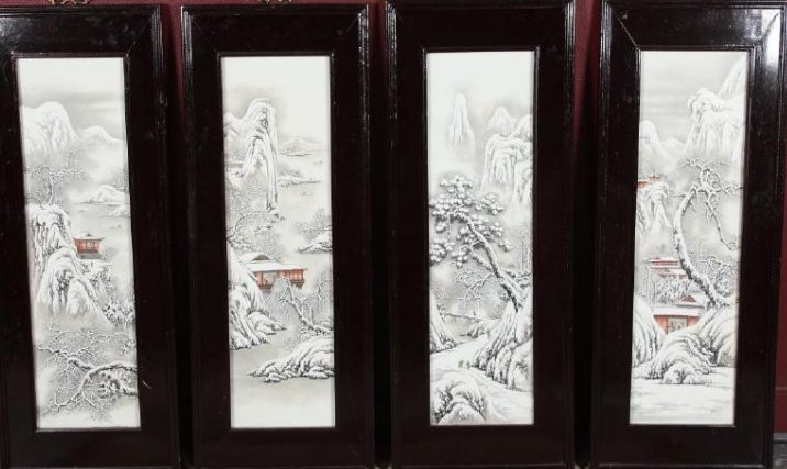 Good Set of Four Chinese Painted Porcelain Panels,
