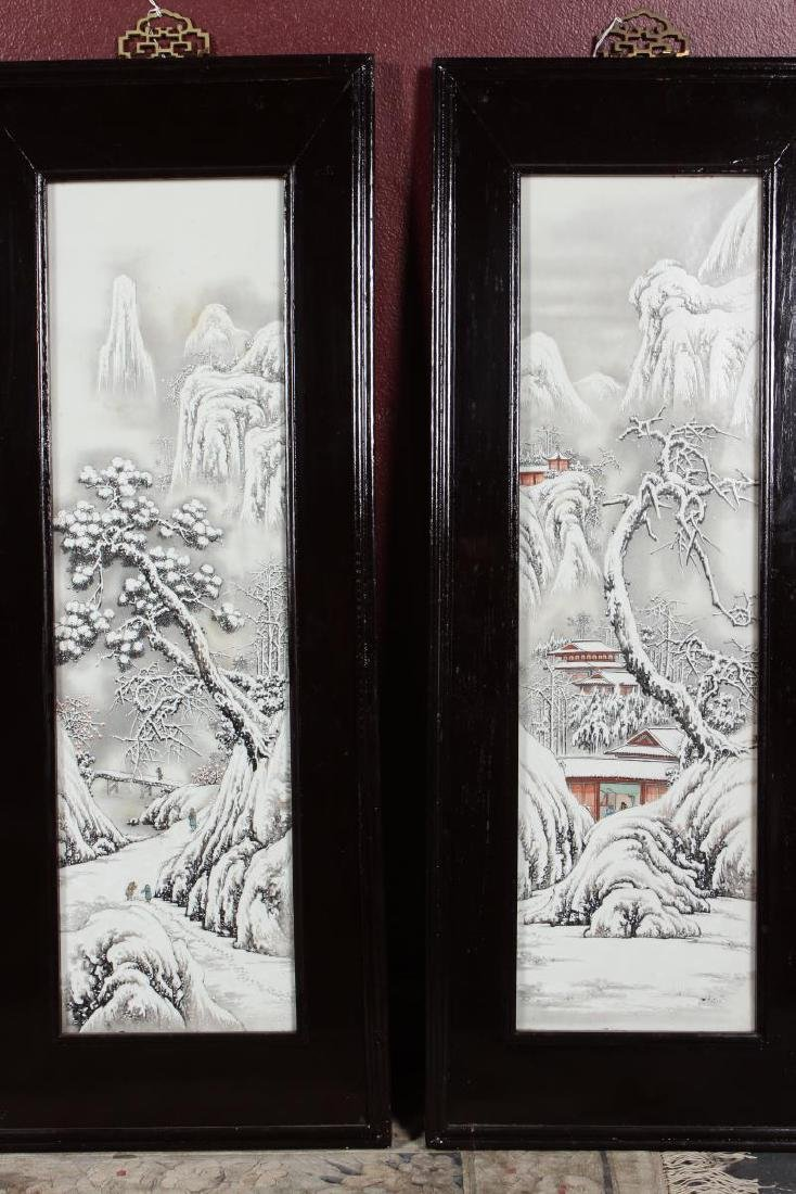 Good Set of Four Chinese Painted Porcelain Panels, - 4