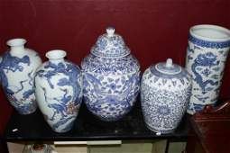 Five Pieces of Oriental Blue and White Porcelain
