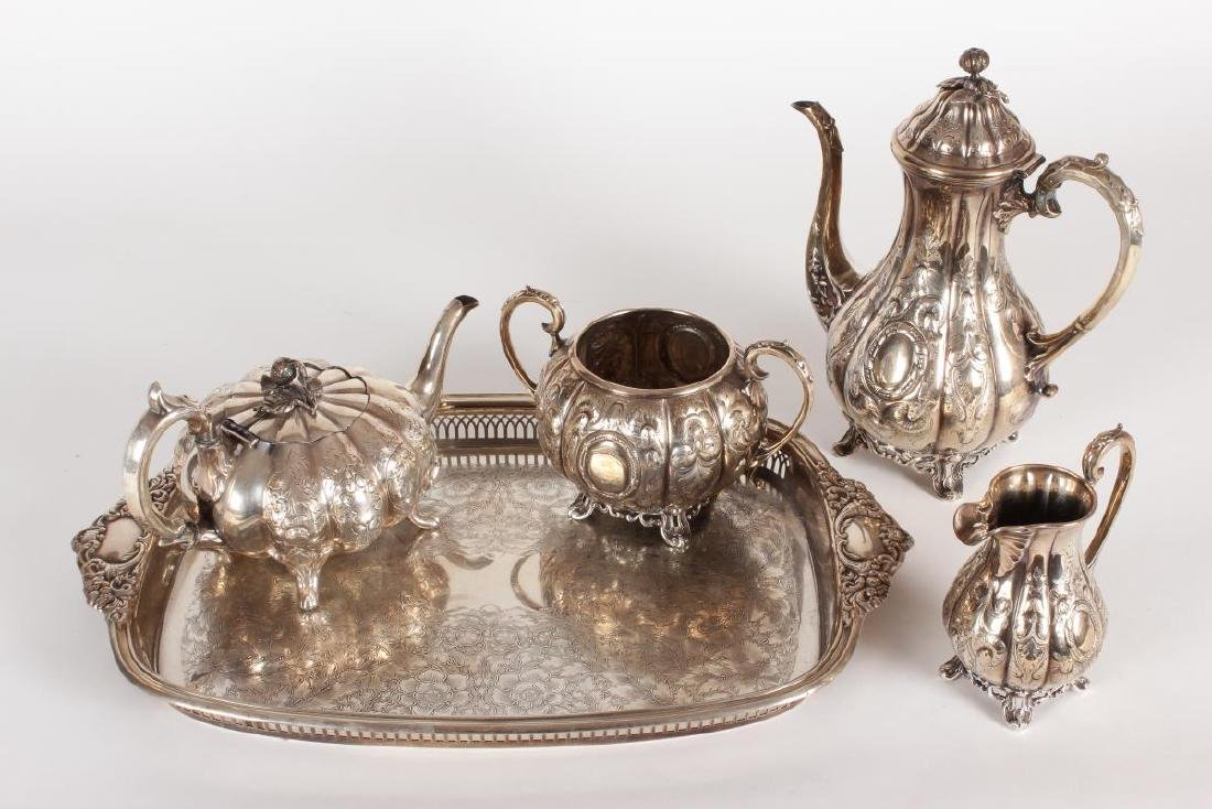 Victorian Silver Plate Five Piece Tea Set,