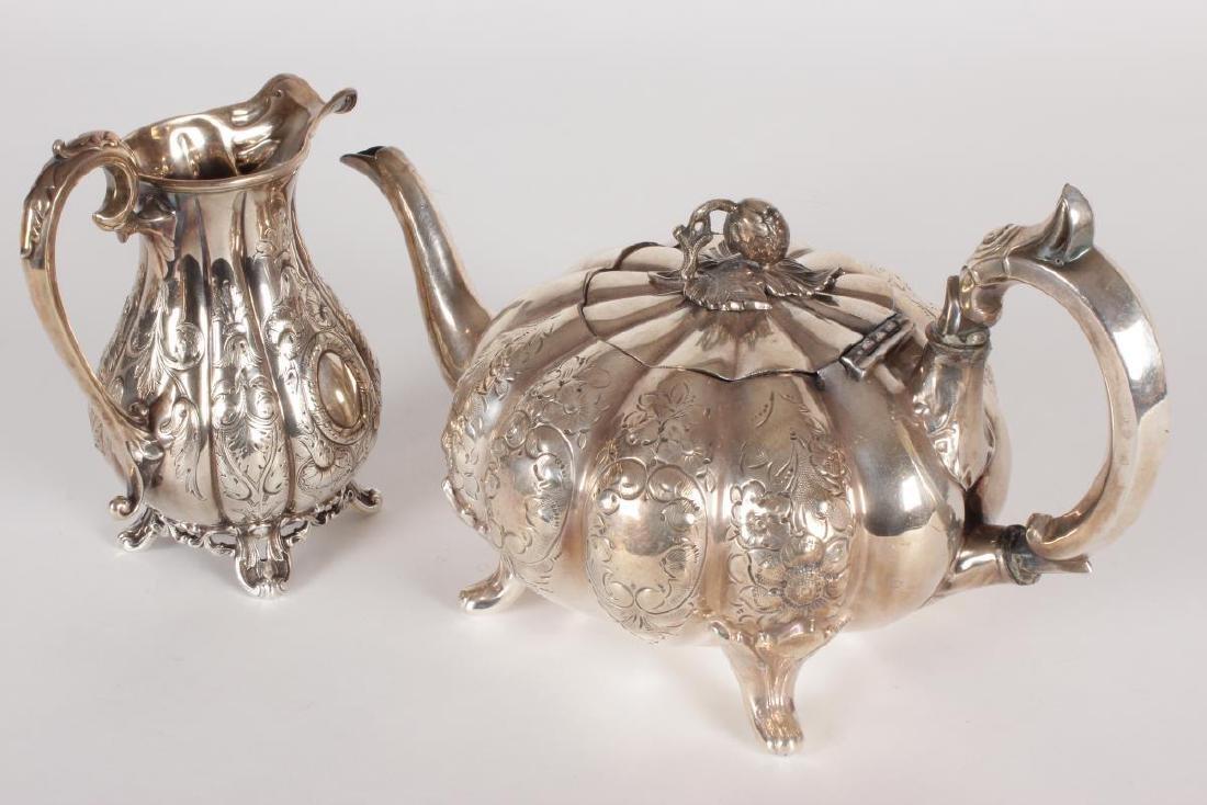 Victorian Silver Plate Five Piece Tea Set, - 2