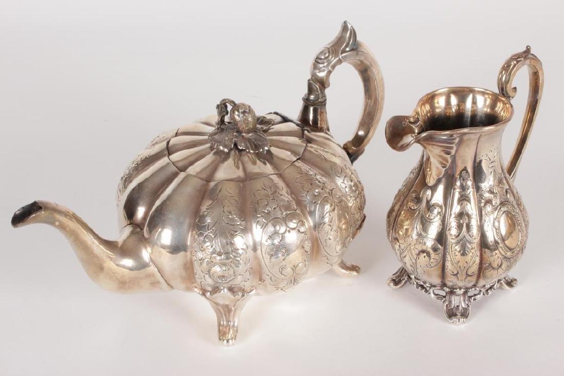 Victorian Silver Plate Five Piece Tea Set, - 6