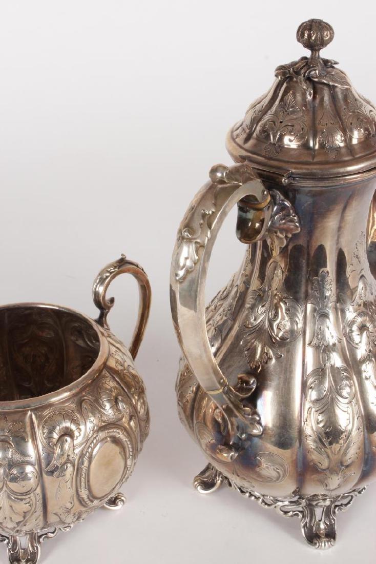 Victorian Silver Plate Five Piece Tea Set, - 9