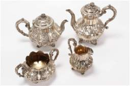 Victorian Sterling Silver Four Piece Tea and
