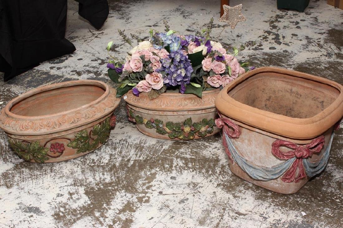 Delightful Pair of Painted Terracotta Jardinieres,