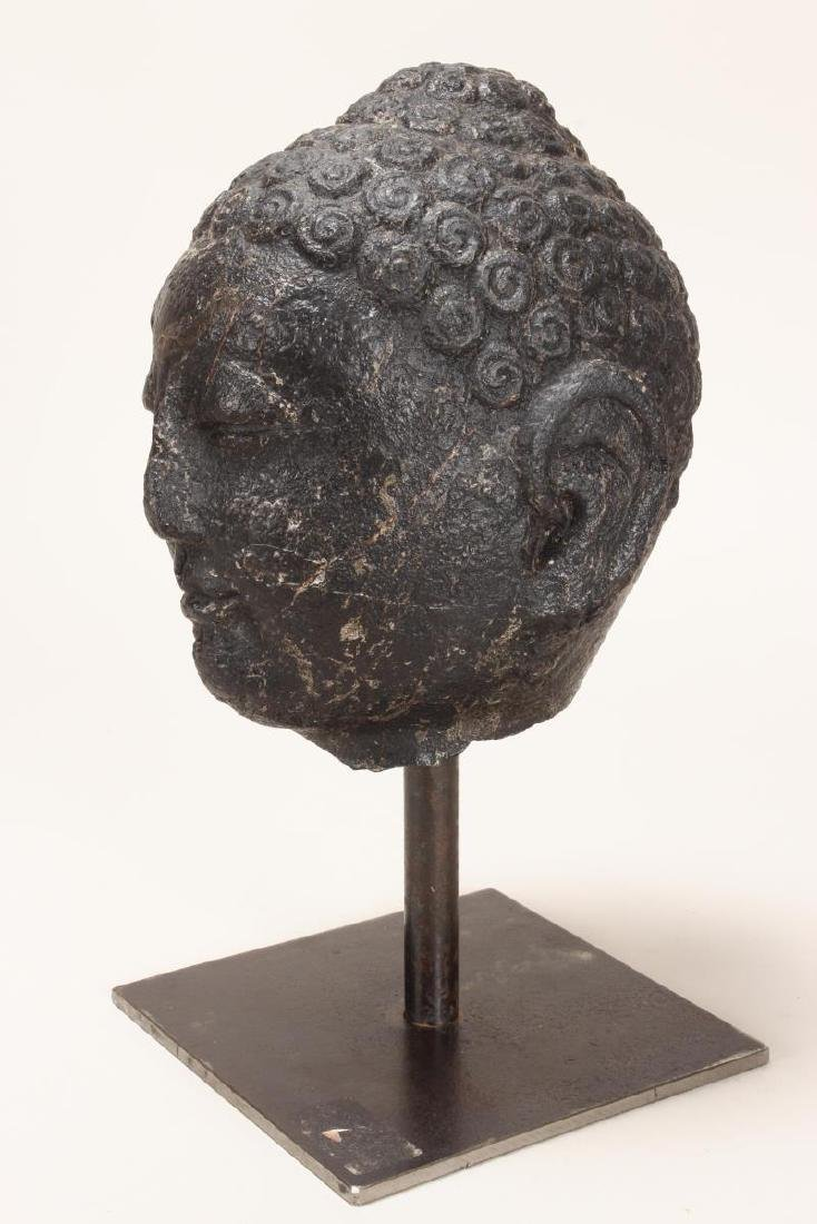 Chinese Black Stone Carved Buddha Head,