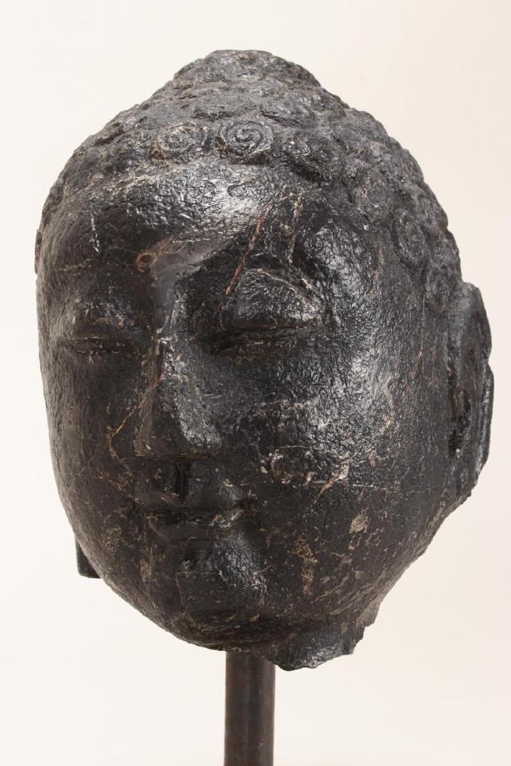 Chinese Black Stone Carved Buddha Head, - 2
