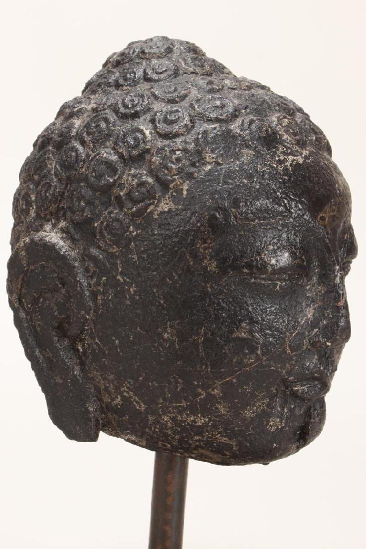 Chinese Black Stone Carved Buddha Head, - 3