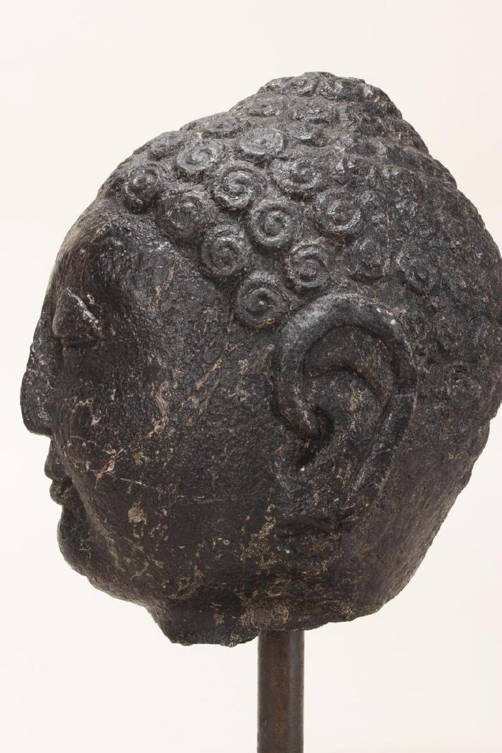 Chinese Black Stone Carved Buddha Head, - 5