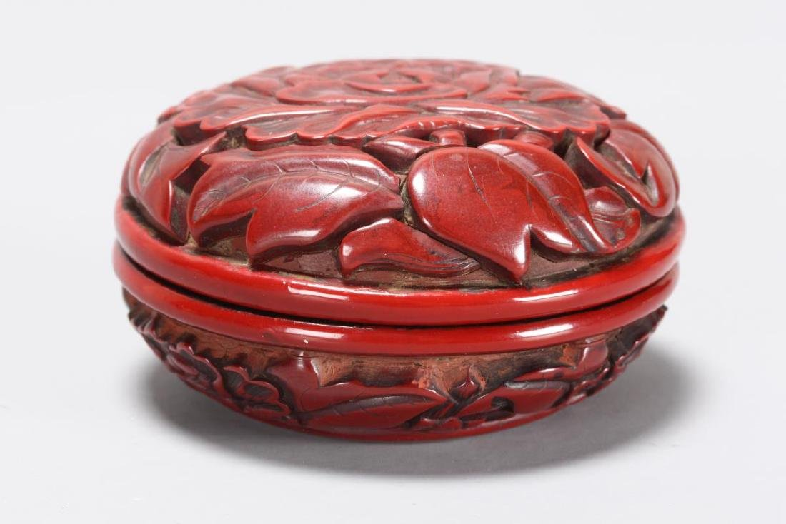 Good Chinese Cinnabar Lacquer Box and Cover,