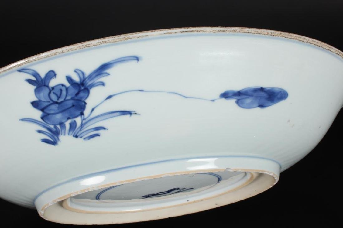 Chinese Kang Hsi Blue and White Porcelain Charger, - 6