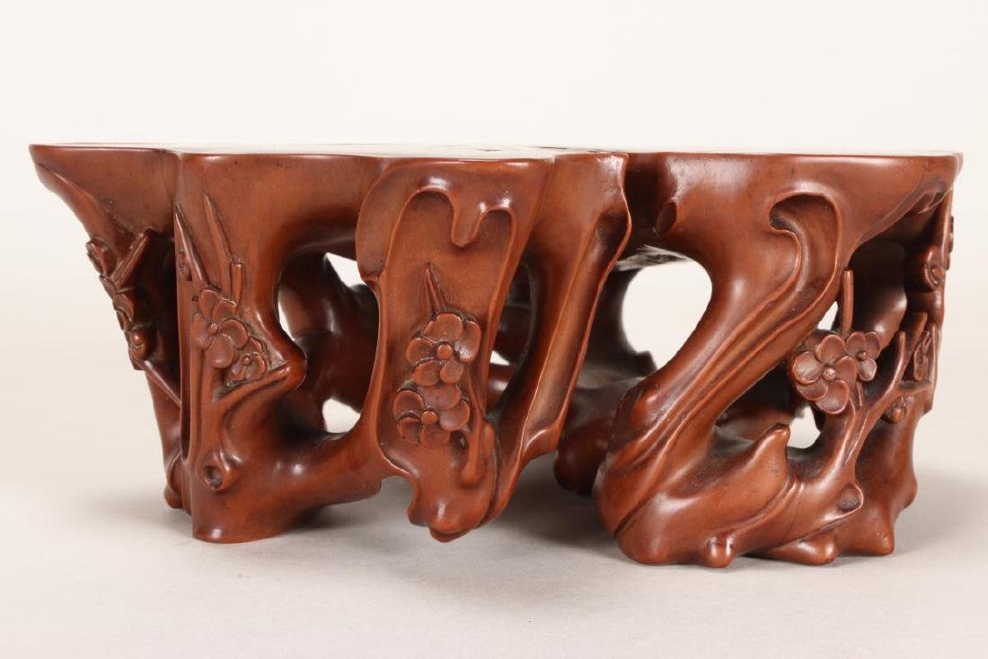 Stunning Chinese Carved and Polished Boxwood Stand - 2