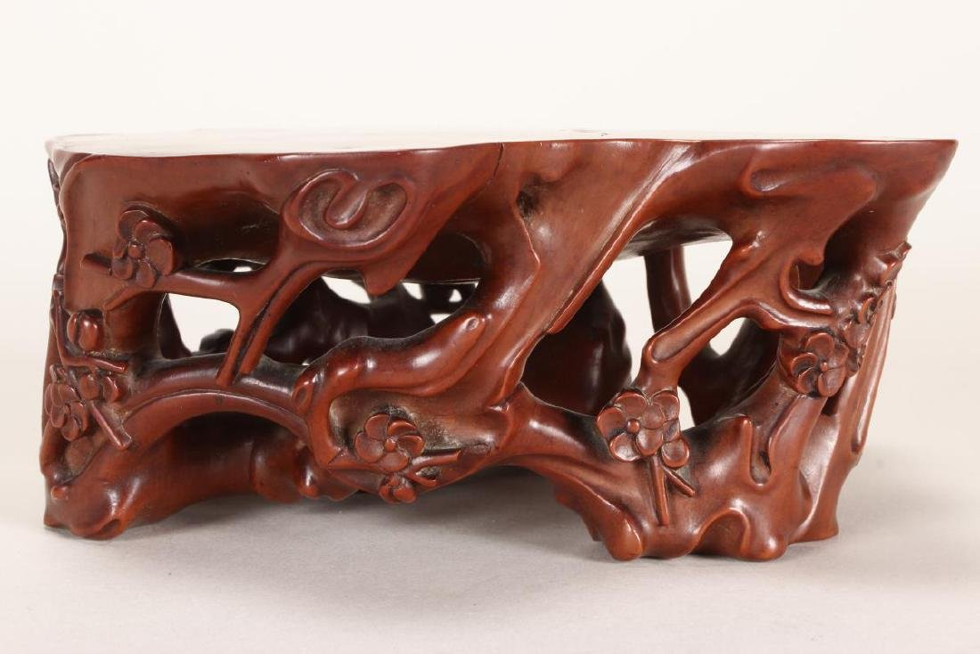 Stunning Chinese Carved and Polished Boxwood Stand - 3