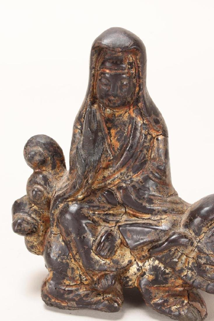 Good Chinese Ming Dynasty Lacquered Iron Kwan Yin - 2