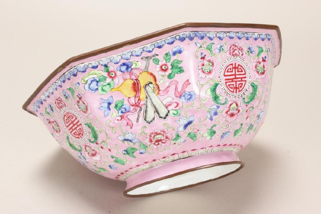 Large Chinese Enamel Bowl, - 2