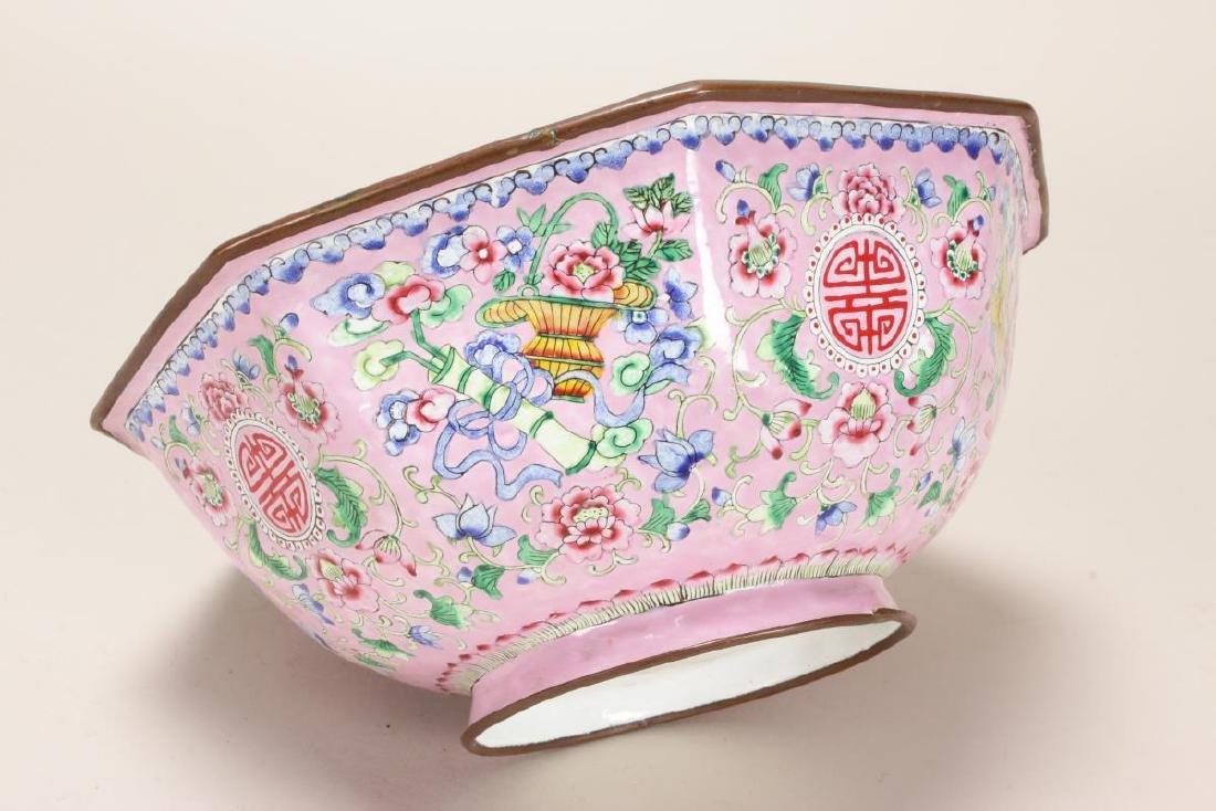 Large Chinese Enamel Bowl, - 3