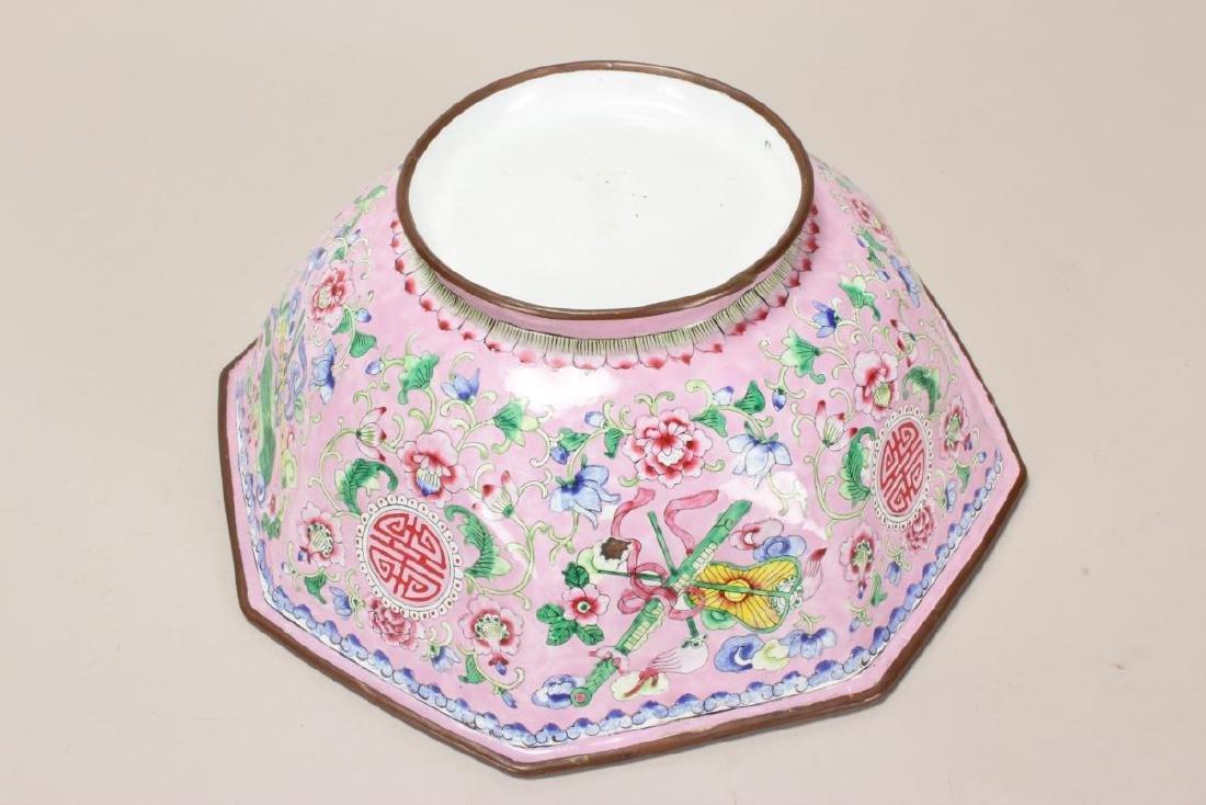 Large Chinese Enamel Bowl, - 5