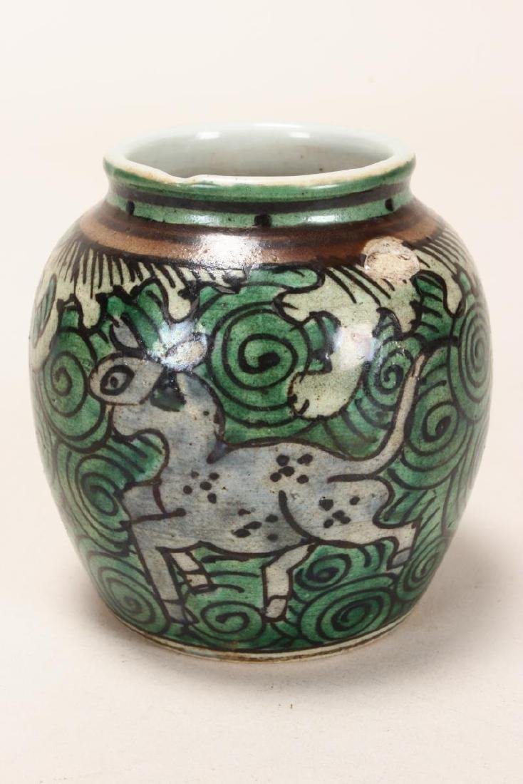 Chinese Qing Dynasty Squat Porcelain Jar, - 3