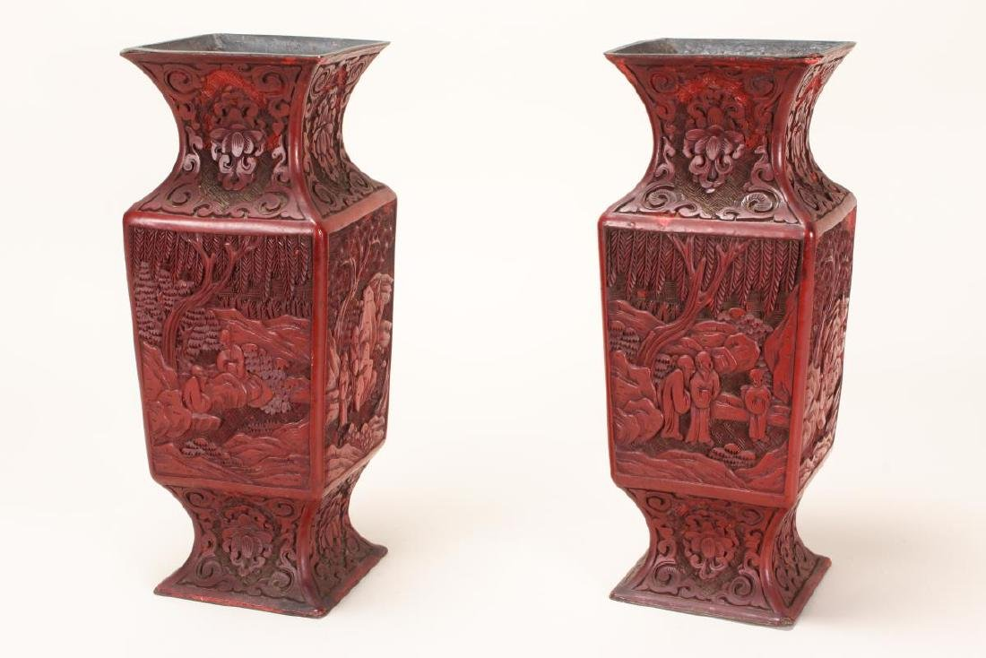 Pair of Chinese Late Qing Dynasty Vases,