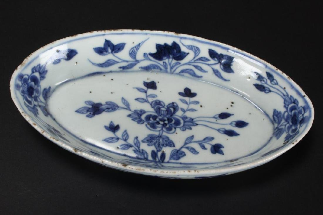 Chinese Qing Dynasty Blue and White Dish, - 2
