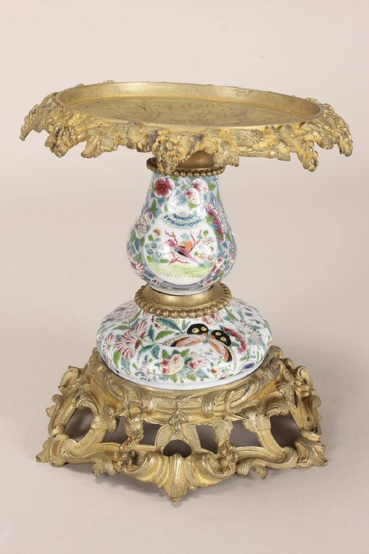 Chinese/French Porcelain and Ormolu Tazza,