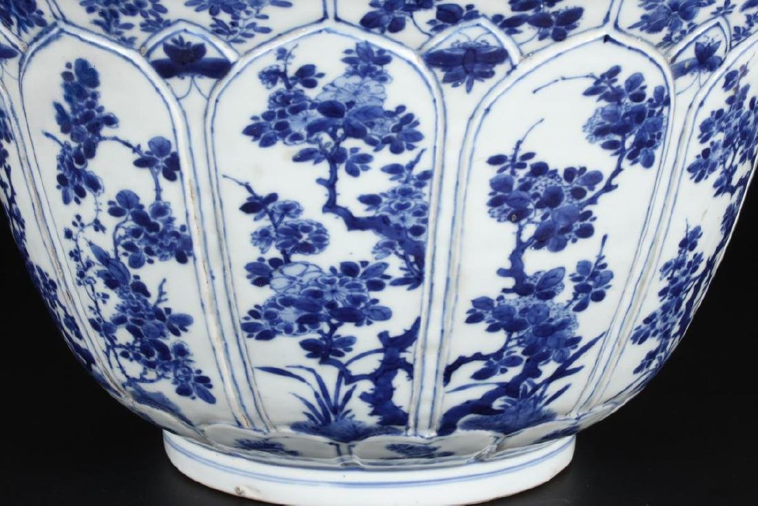 Large Chinese Qing Dynasty Blue and White Punch - 2