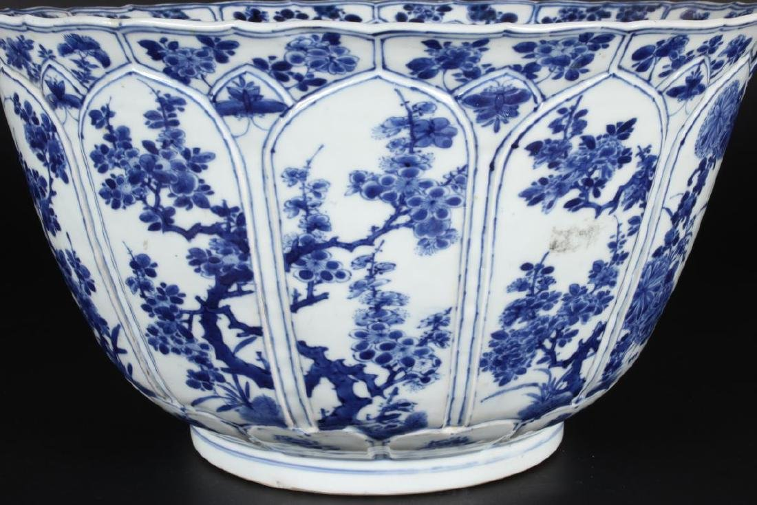 Large Chinese Qing Dynasty Blue and White Punch - 3