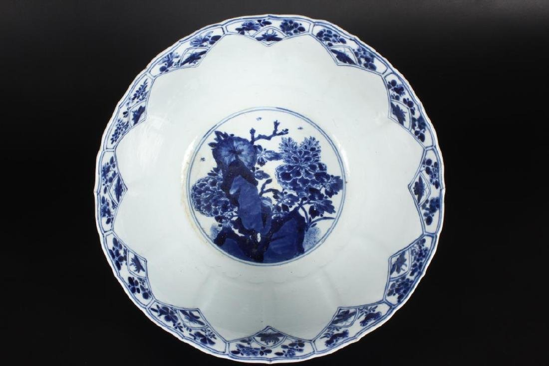 Large Chinese Qing Dynasty Blue and White Punch - 6