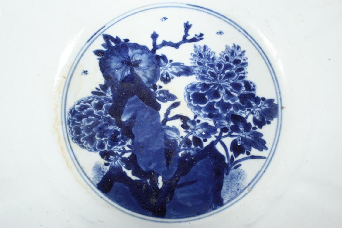 Large Chinese Qing Dynasty Blue and White Punch - 7