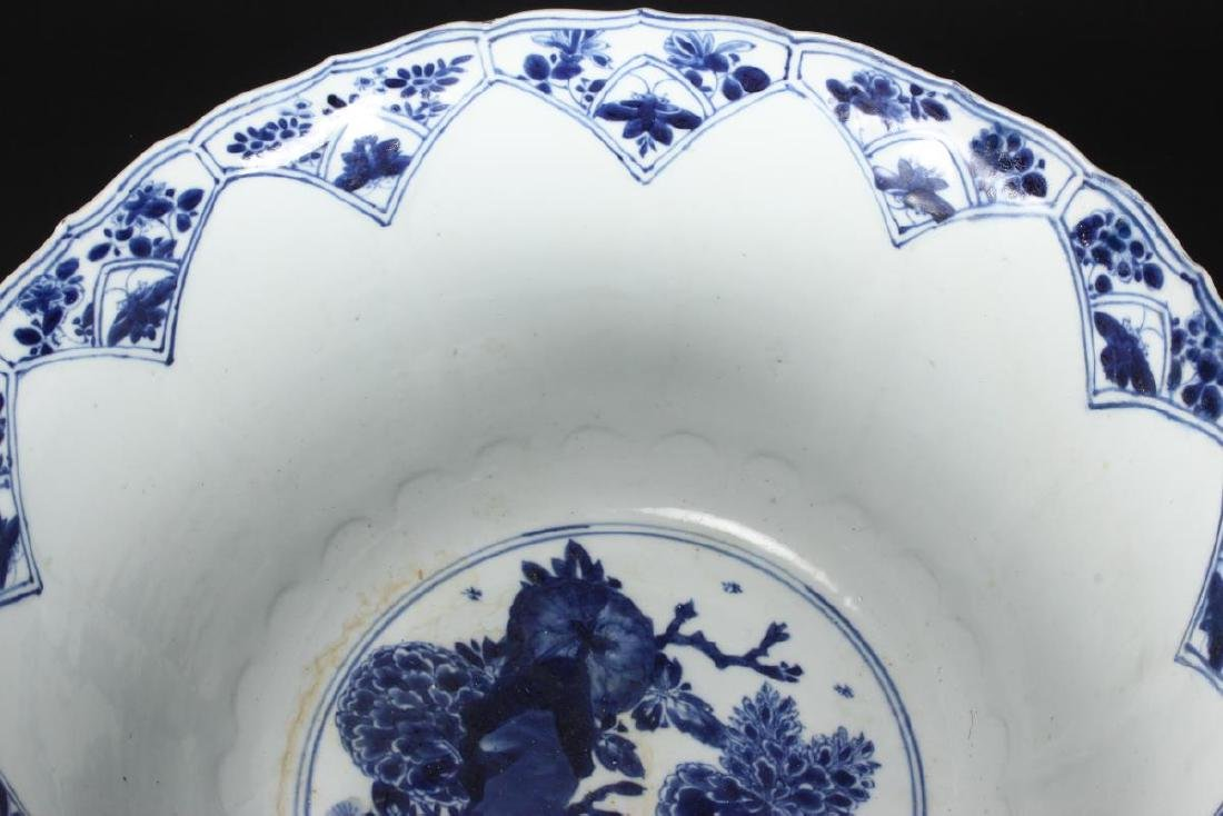 Large Chinese Qing Dynasty Blue and White Punch - 8