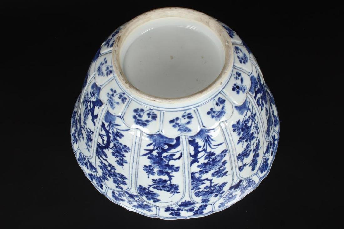 Large Chinese Qing Dynasty Blue and White Punch - 9