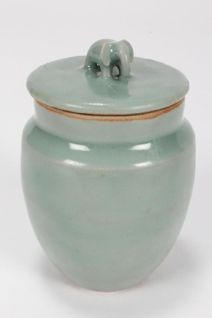 Chinese Song Dynasty Lonquan Jar and Cover, - 2