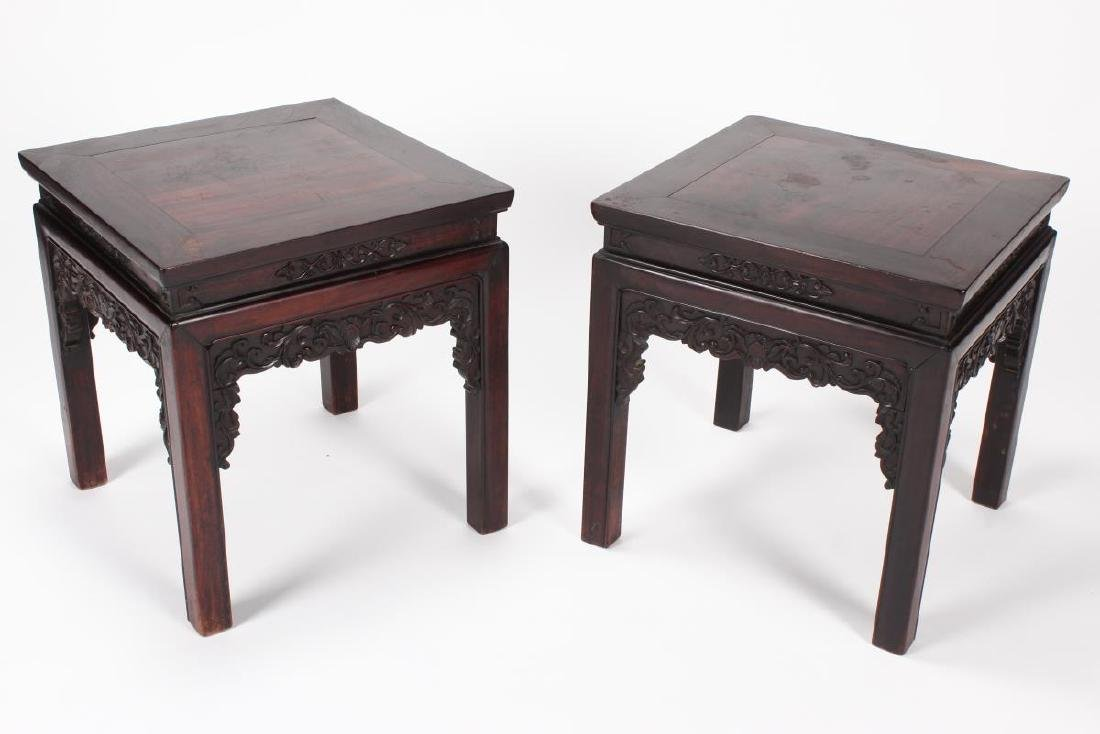 Pair of Chinese Carved Occasional Tables,
