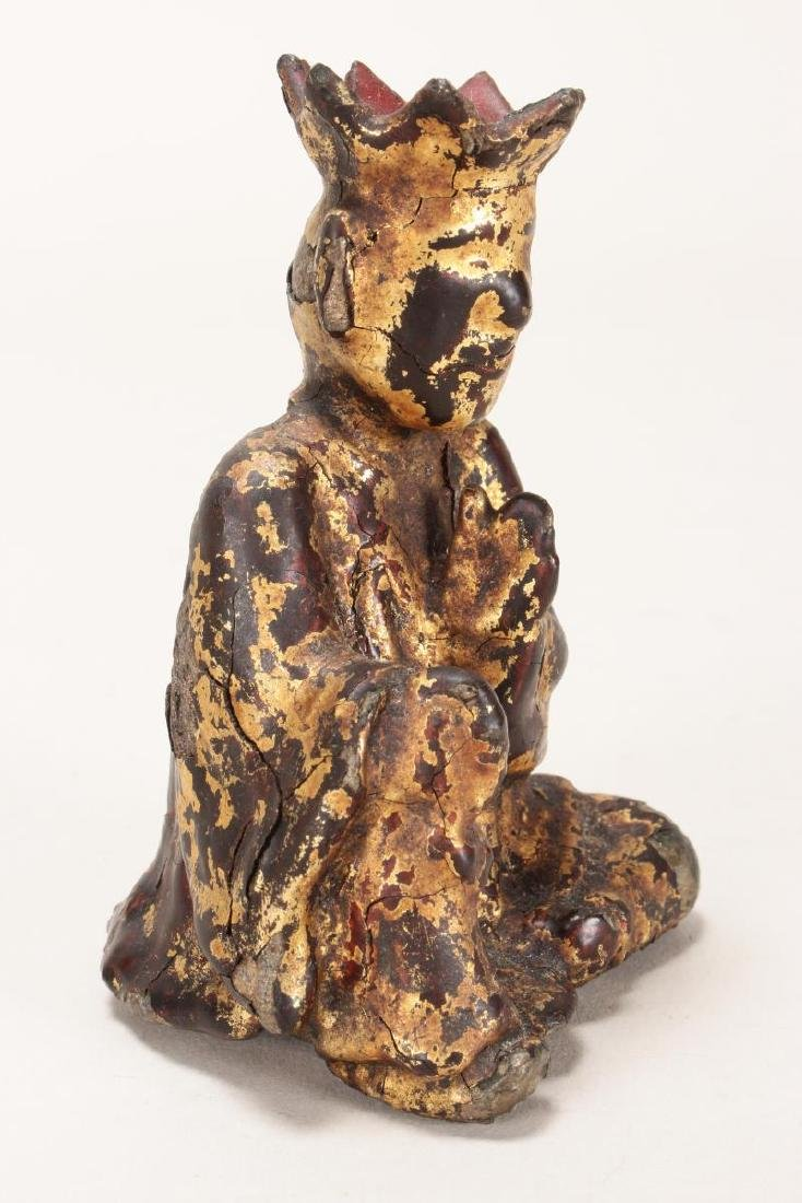 Chinese Ming Dynasty Iron and Lacquered Monk, - 2