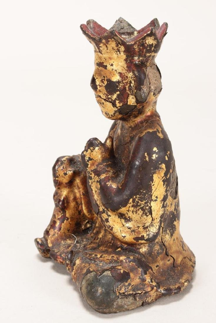 Chinese Ming Dynasty Iron and Lacquered Monk, - 3