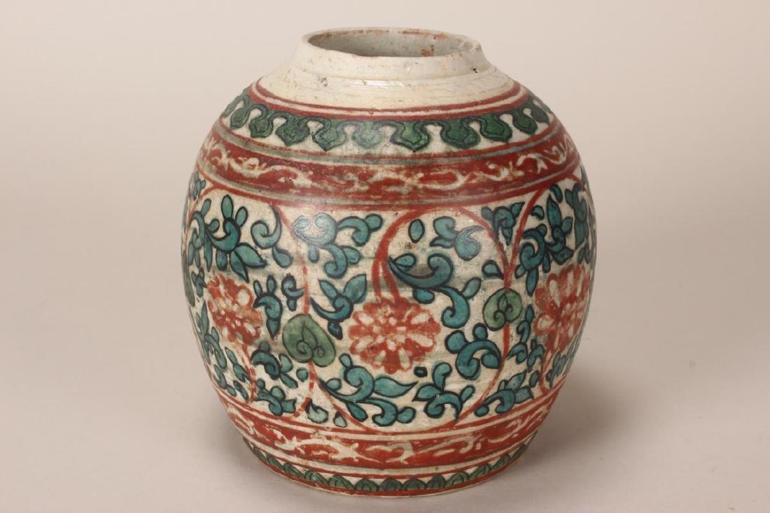 Chinese Ming Swatow Porcelain Jar, - 2