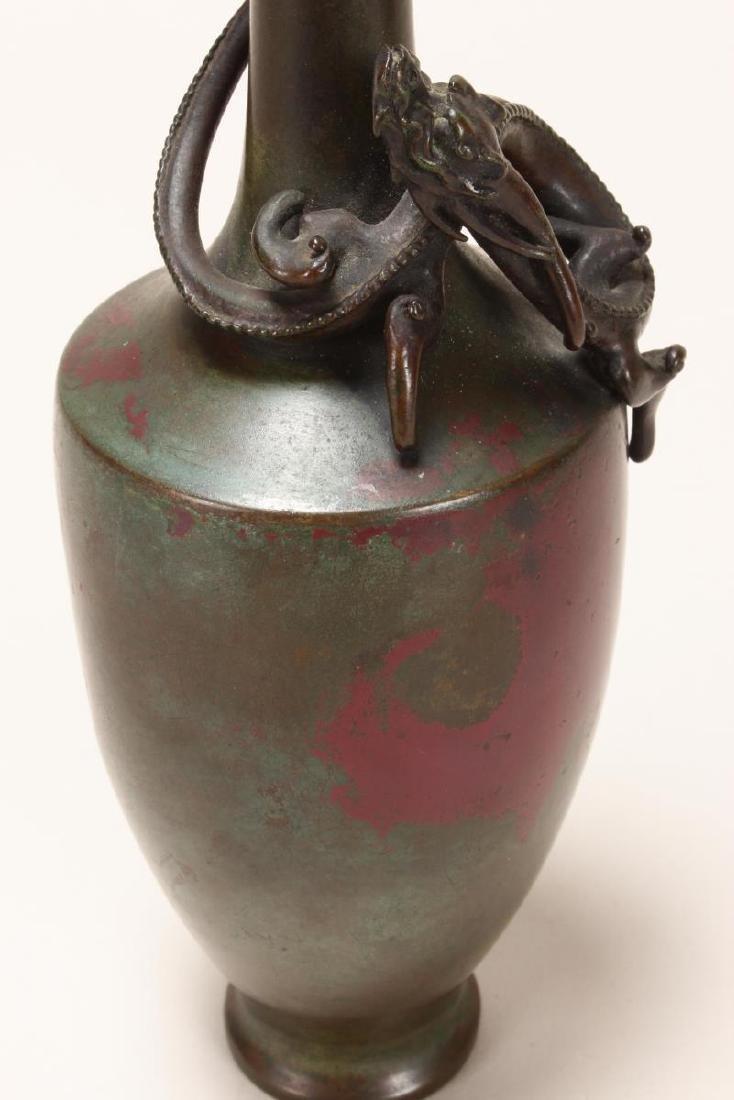 Stunning Japanese Bronze Dragon Vase, - 5