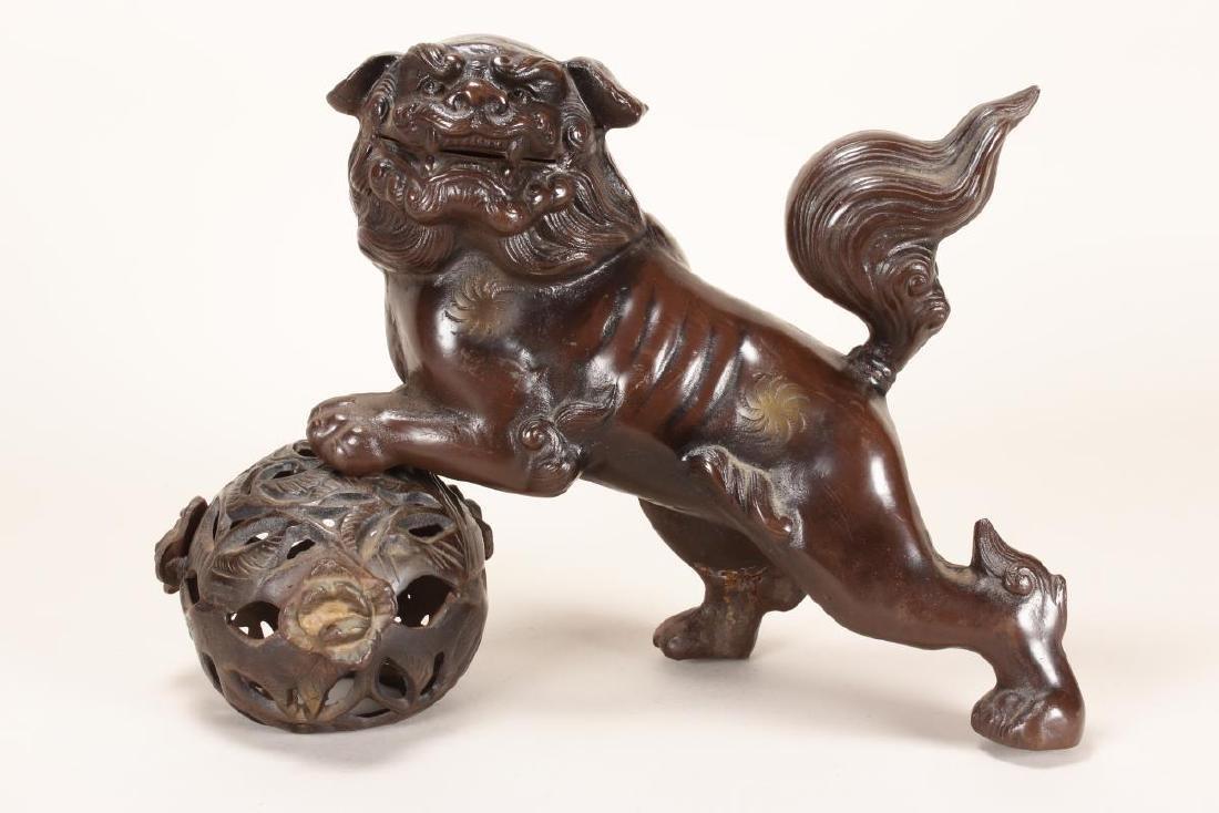 Chinese Bronze Kylin and Lotus Ball,