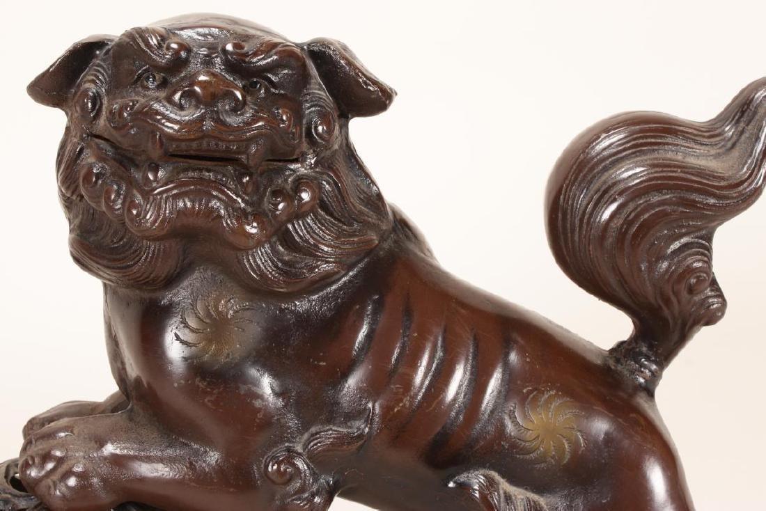 Chinese Bronze Kylin and Lotus Ball, - 2