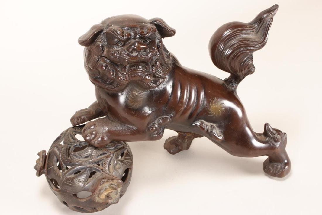 Chinese Bronze Kylin and Lotus Ball, - 3