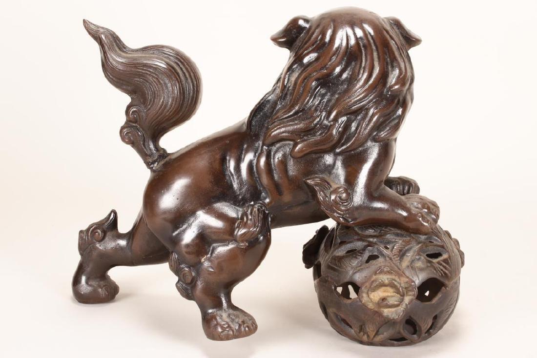Chinese Bronze Kylin and Lotus Ball, - 4