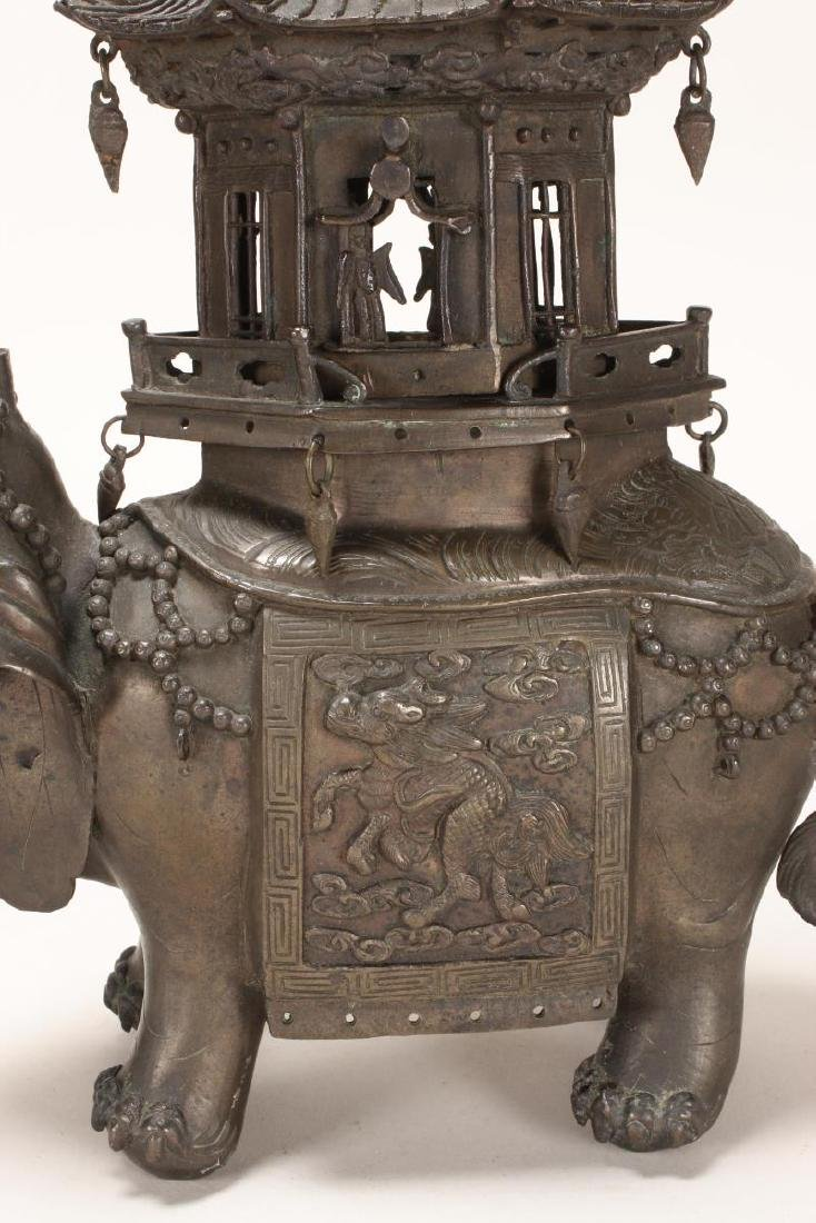 Wonderful Bronze Elephant Incense Burner, - 3